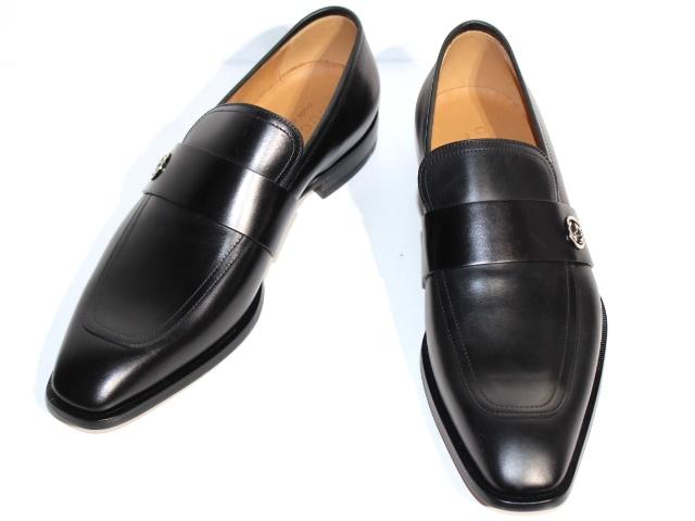 GUCCI グッチ 革靴 ビジネスシューズ メンズ8 約27cm ブラック レザー 407295 【200】