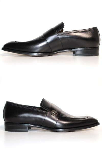 GUCCI グッチ 革靴 ビジネスシューズ メンズ8 約27cm ブラック レザー 407295 【200】 image number 1