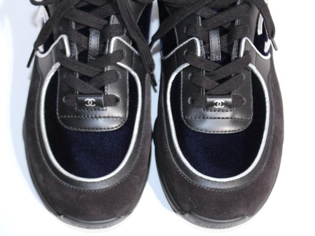CHANEL シャネル スニーカー メンズ41 ブラック ネイビー スエード ベロア レザー 【200】 image number 2