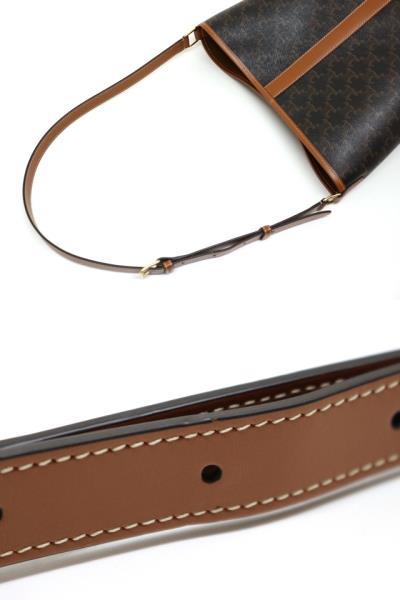 CELINE セリーヌ ミディアム バケット トリオンフキャンバス ブラウン PVC レザー 191132 【200】 image number 5