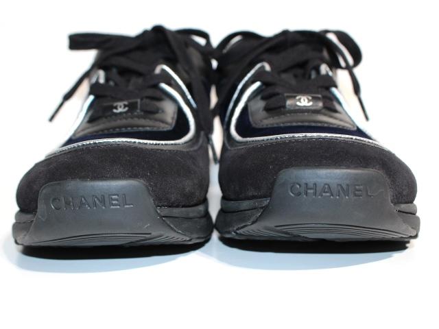 CHANEL シャネル スニーカー メンズ41 ブラック ネイビー スエード ベロア レザー 【200】 image number 5