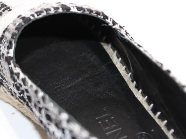 CHANEL シャネル エスパドリーユ レディース36 ブラック ホワイト グレー ツイード G34546X53406 【200】 image number 6