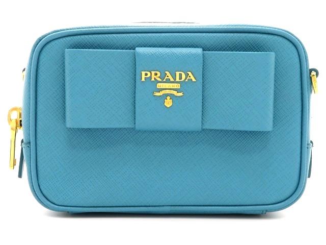 PRADA プラダ ミニショルダーバッグ サフィアーノ ライトブルー 1MF674 【474】