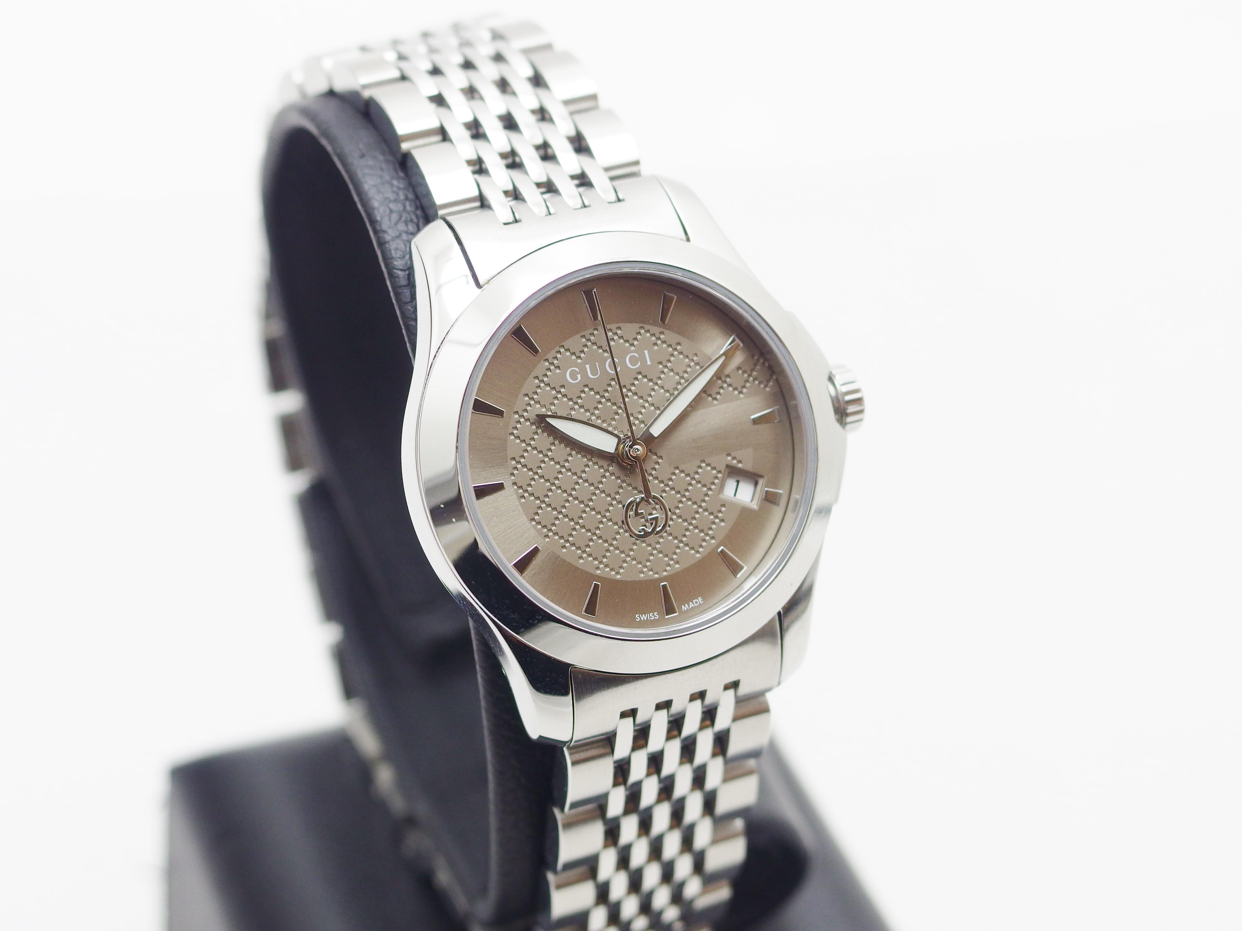 GUCCI グッチ 腕時計 レディース クオーツ SS シャンパンプラウン文字盤 Gタイムレス 【435】