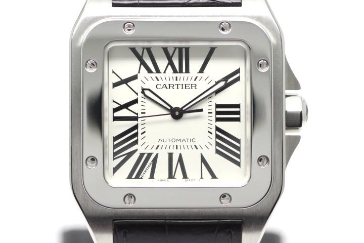 Cartier カルティエ サントス100LM W20073X8 オートマチック メンズ SS シルバー文字盤 100m防水 TM2【472】
