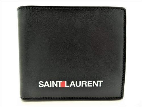 YVES SAINT LAURENT サイフ・小物 財布 二つ折り財布 カーフ ブラック【472】