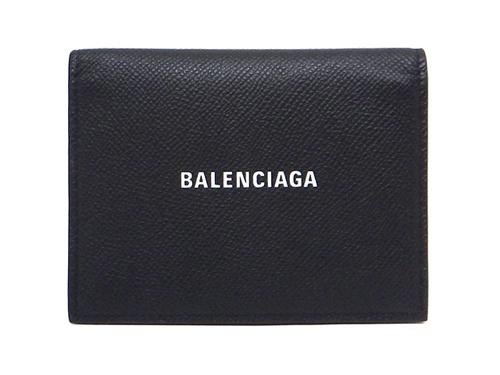 BALENCIAGA バレンシアガ サイフ・小物 財布 三つ折りチェーンウォレット ブラック 型押し 593807 【431】