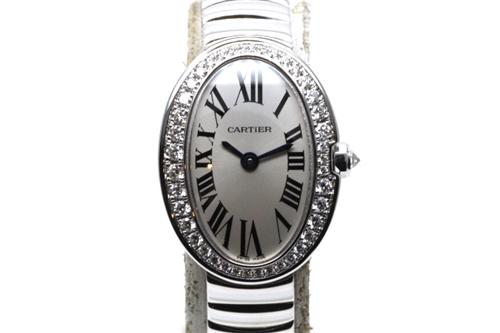 Cartier カルティエ 時計 レディース クオーツ 電池式 ミニべニュワール WB520025 ダイヤベゼル ホワイトゴールド WG シルバー文字盤 HK【430】