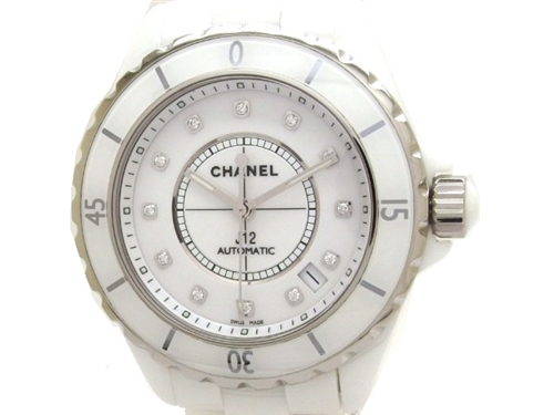 CHANEL シャネル 時計 J12 12Pダイヤ オートマチック セラミック H1629【432】