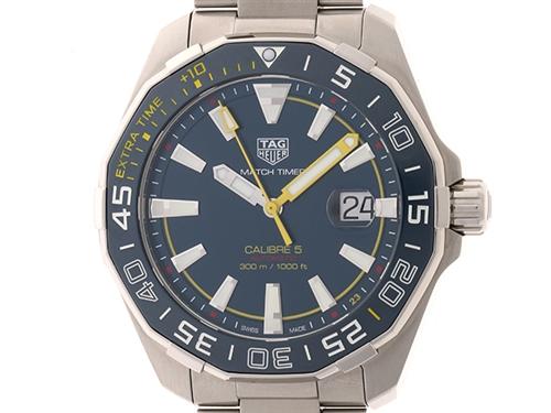 TAG HEUER 時計 アクアレーサー・キャリバー5 WAY201H オートマチック ブルー文字盤 カレンダー機能 300m防水 メンズ ステンレススチールSS【435】