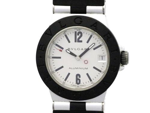 BVLGARI ブルガリ アルミニウム AL32TA アルミニウム/ラバー シルバー文字盤 男女兼用クオーツ時計【431】
