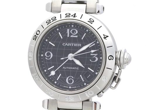 Cartier カルティエ パシャC メリディアン W31079M7 ステンレス ブラック文字盤 男女兼用自動巻時計【473】