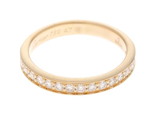 Cartier カルティエ ハーフエタニティリング YG ダイヤモンド 47号(日本サイズ約7号) 【436】
