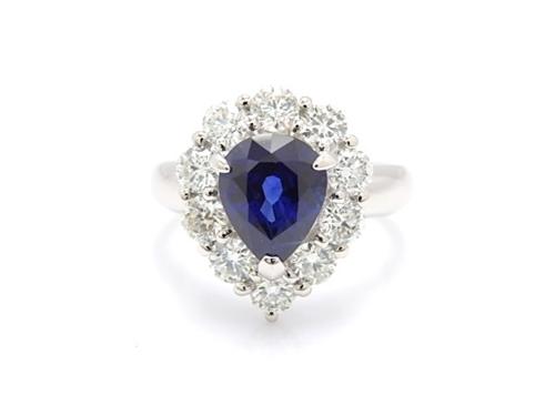 JEWELRY ノンブランド ジュエリー リング プラチナ900 ダイヤモンド サファイヤ 12号【432】