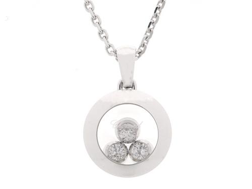Chopard ショパール 貴金属・宝石 ハッピーダイヤネックレス ダイヤネックレス WG ホワイトゴールド 3Pダイヤモンド 8.4g 799562-1001 【200】