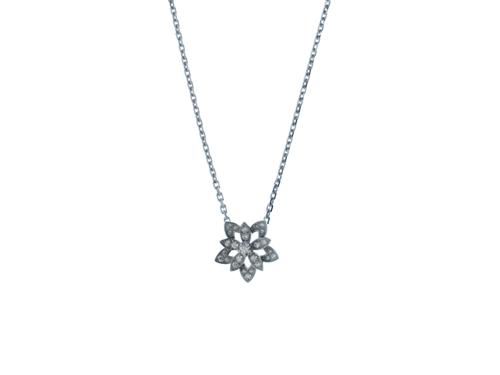 Van Cleef & Arpels ヴァンクリーフ&アーペル ロータスミニネックレス ホワイトゴールド ダイヤモンド【472】