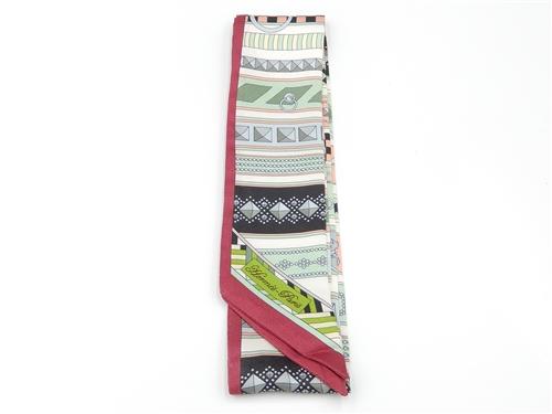 エルメス 衣料品 トゥイリー スカーフ レッド グリーン ピンク シルク【432】