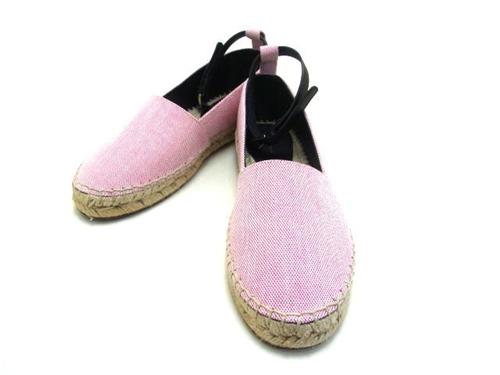 CELINE セリーヌ エスパドリーユ ピンク ファブリック レディース37 約24cm 【432】