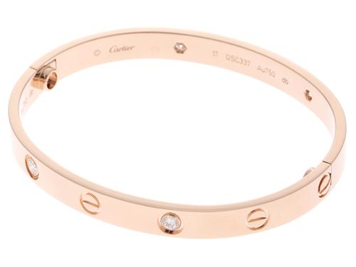 Cartier カルティエ ラブブレスレット ハーフダイヤモンド PG ピンクゴールド 新型 17号 【460】