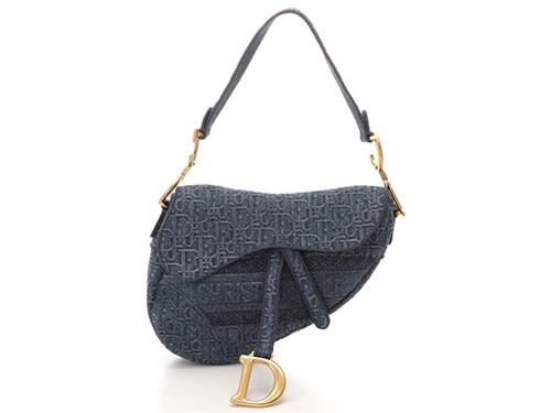 Dior ディオール バッグ ハンドバッグ オブリークサドルバッグ ブルー デニム 02-MA-0199【430】2148103154966