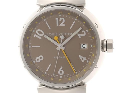 LOUIS VUITTON ルイ・ヴィトン 時計 タンブール GMT Q1132 シルバー文字盤 メンズ オートマチック 自動巻き SS/革【430】 image number 0