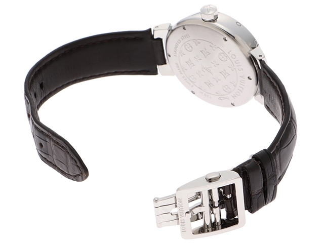 LOUIS VUITTON ルイ・ヴィトン 時計 タンブール GMT Q1132 シルバー文字盤 メンズ オートマチック 自動巻き SS/革【430】 image number 2