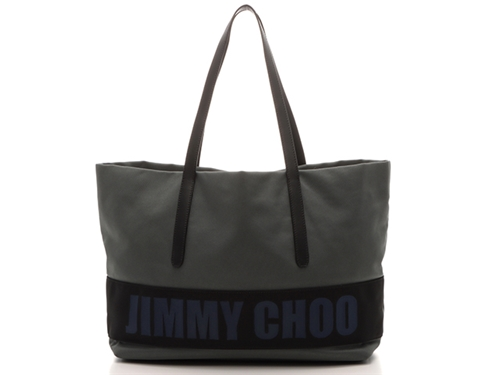 JIMMY CHOO ジミーチュウ バッグ トートバッグ グレー ブラック ブルー ナイロン レザー 【205】