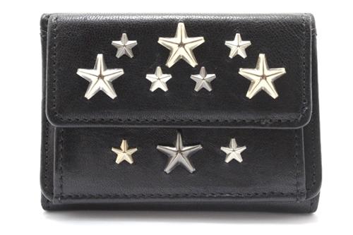 三つ折り財布 ブラック カーフ