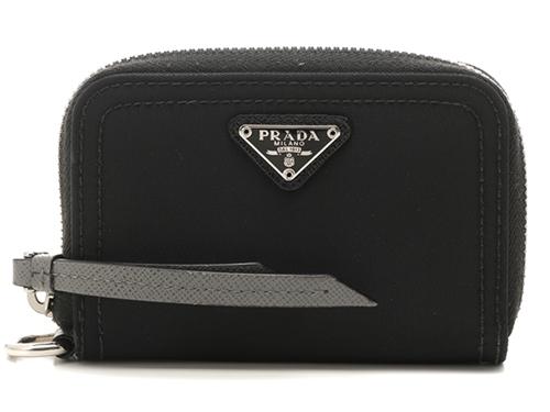 PRADA コインケース ストラップ付き ブラック ナイロン×レザー【430】