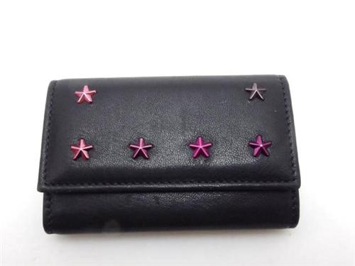 スタースタッズ6連キーケース ブラック/ピンク レザー