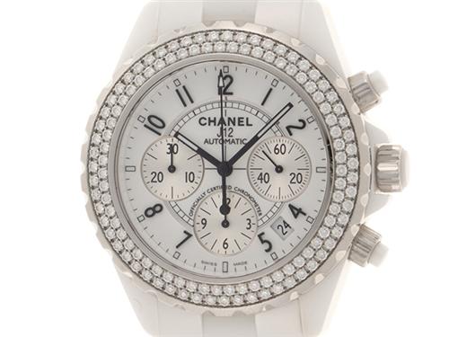 CHANEL シャネル 時計 J12 クロノ ダイヤベゼル H1008 白 ホワイト セラミック 自動巻き オートマチック SH 【472】
