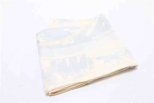 HERMES エルメス スカーフ カレ90 ホワイト シルク【460】