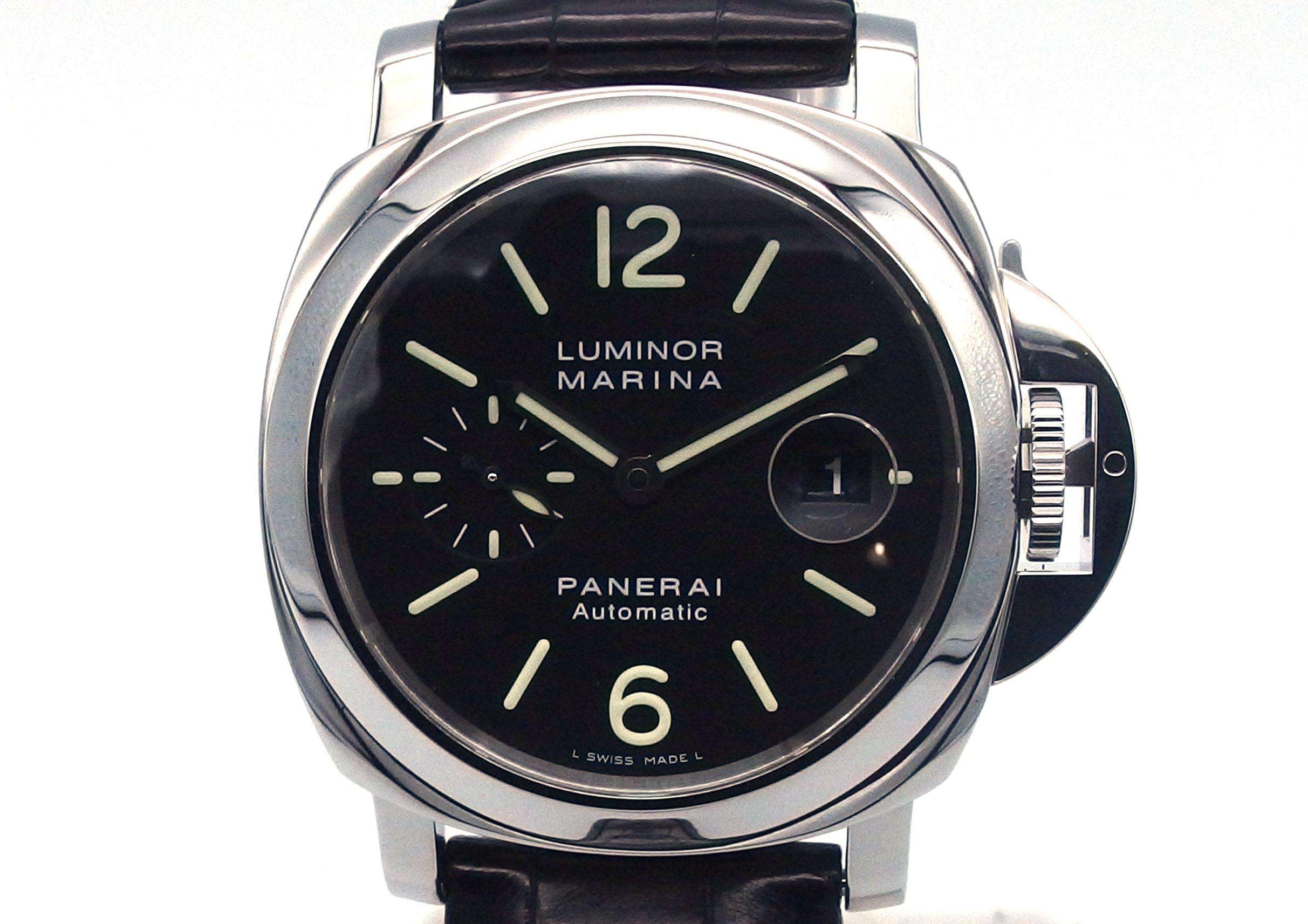 2008年1月国内ギャラ PANERAI パネライ ルミノール マリーナ PAM00104 オートマチック SS/革 ブラック 【432】