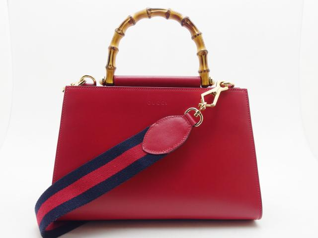 GUCCI グッチ 2WAYバッグ ニムフェア バンブー 459076 レッド レザー 【435】 image number 0