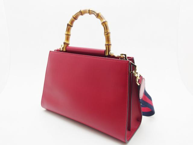 GUCCI グッチ 2WAYバッグ ニムフェア バンブー 459076 レッド レザー 【435】 image number 1