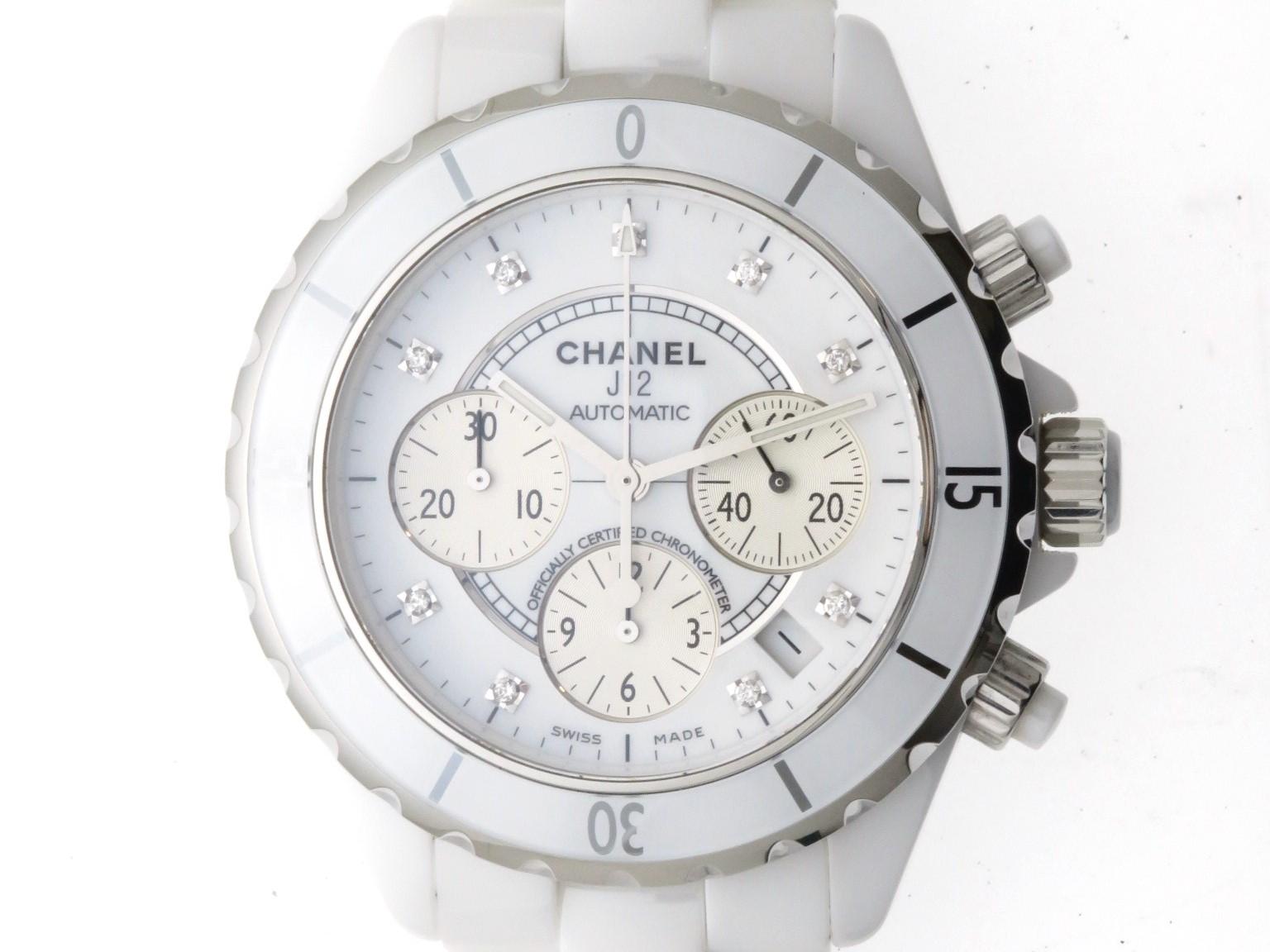 CHANEL シャネル 時計 J12 クロノグラフ  オートマチック H2009 白文字盤 9Pダイヤインデックス カレンダー機能 セラミック/ステンレススチール メンズ時計【430】