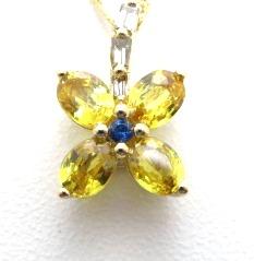 ノンブランドジュエリー フラワーモチーフネックレス K18イエローゴールド シトリン0.75ct ダイヤモンド0.04ct 全体重量約2.6g 【205】