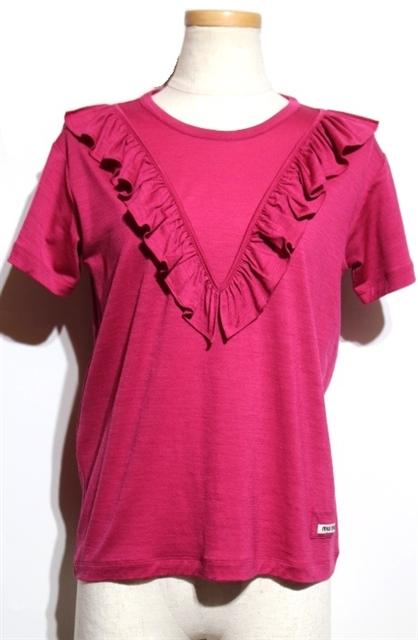 miu miu  ミュウミュウ Tシャツ ウール ナイロン ピンク レディース XS 半袖 【432】