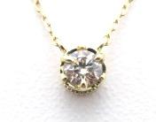 ノンブランドジュエリー ダイヤモンドネックレス K18イエローゴールド ダイヤモンド0.10ct 全体重量約1.0g 【205】