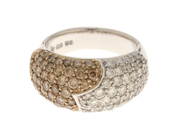 Ponte Vecchio ポンテヴェキオ ダイヤモンドリング 18KYG/WG/イエローゴールド/ホワイトゴールドダイヤモンド0.86カラット 0.76カラット 約9.4g 6号【472】