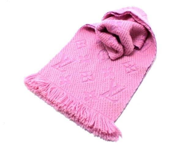 LOUIS VUITTON ルイ・ヴィトン エシャルプ・ロゴマニア マフラー M73659 ピンク ウール シルク 【460】