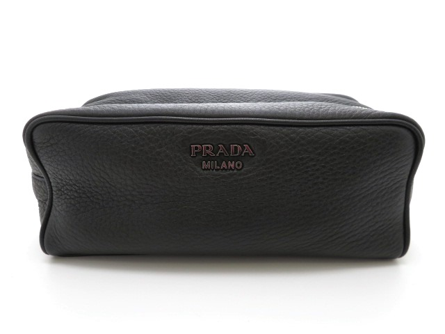 PRADA プラダ セカンドバッグ ポーチ 2NA001 カーフ ブラック 【473】