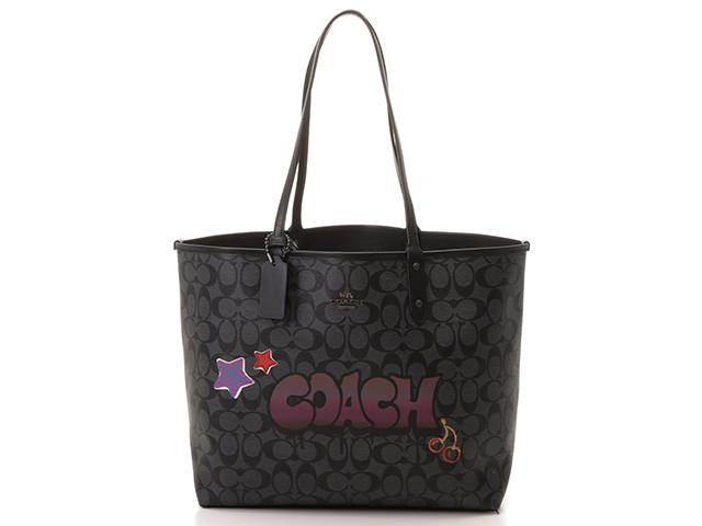COACH コーチ リバーシブルトートバッグ グラフィティ ブラック PVC/カーフ【430】2141200274117