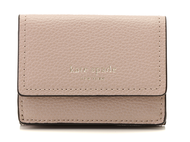kate spade ケイトスペード 三つ折コンパクト財布 ピンク レザー 【436】