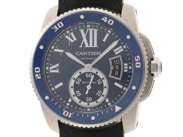 Cartier カルティエ 時計 カリブルダイバー WSCA0010 自動巻き カレンダー機能 回転ベゼル ブルー文字盤 ラバー/SS 男性用時計【430】