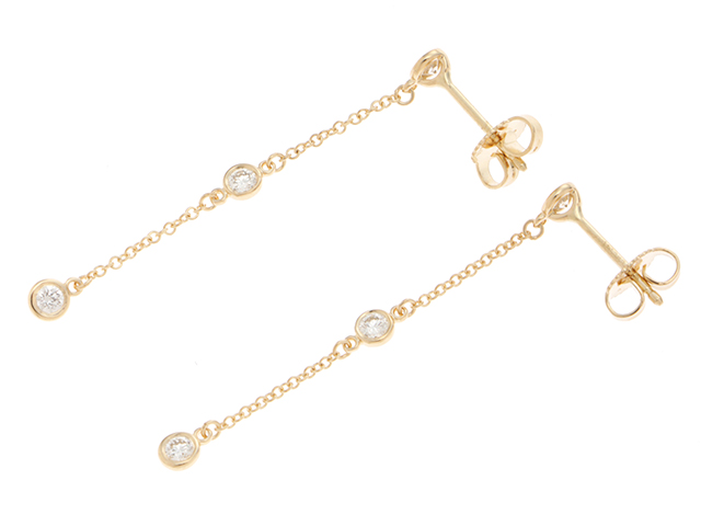 TIFFANY&Co. ティファニー ダイヤモンド バイザヤードドロップピアス エルサ・ペレッティ K18イエローゴールド 3ポイントダイヤモンド 1.5g 【474】