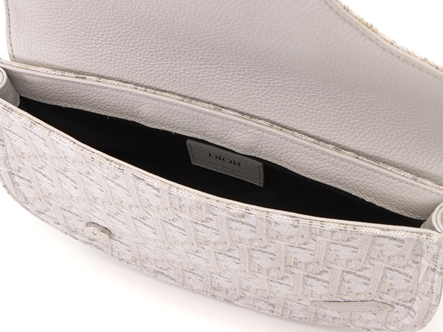 Dior ディオール サドルポーチ キャンバス レザー ホワイト 【437】