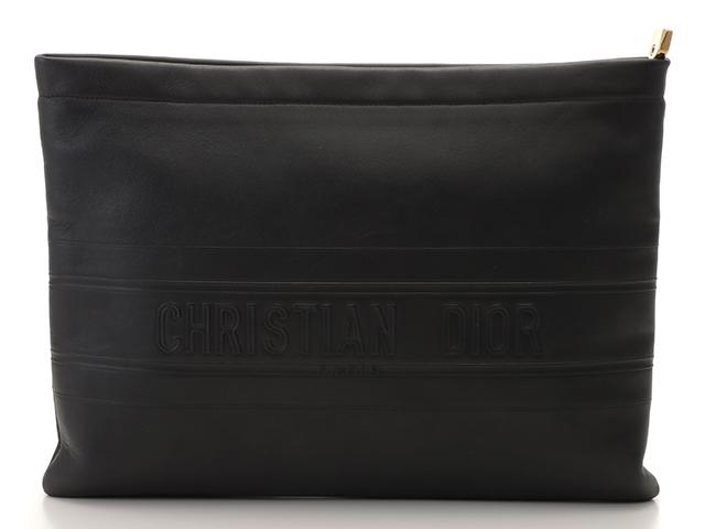 Dior ディオール STRIPE POUCHクラッチバッグ ブラック カーフ【431】