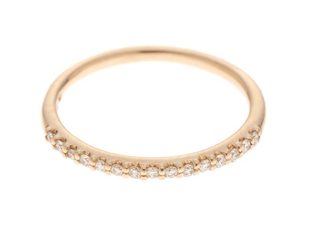 ポンテヴェキオ ハーフ エタニティリング ピンクゴールド ダイヤモンド 0.10カラット 重量1.2g サイズ6 【472】HG