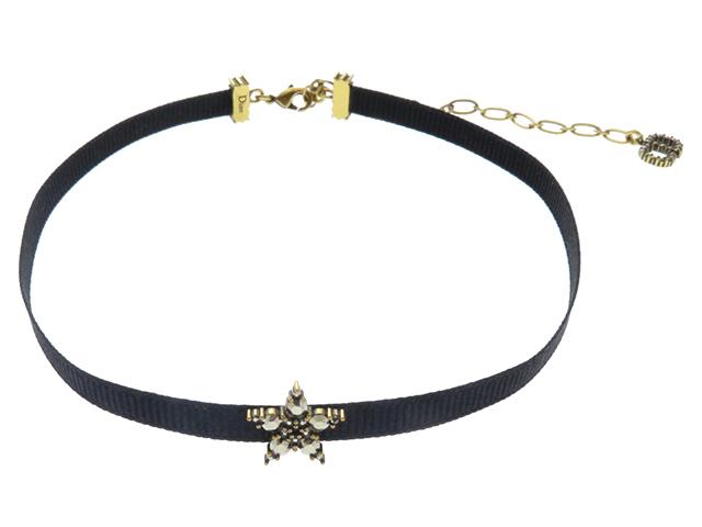 Dior ディオール スター モチーフ チョーカー ラインストーン ブラック GP【430】2143200381642